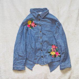 button down striped shirt with flowers